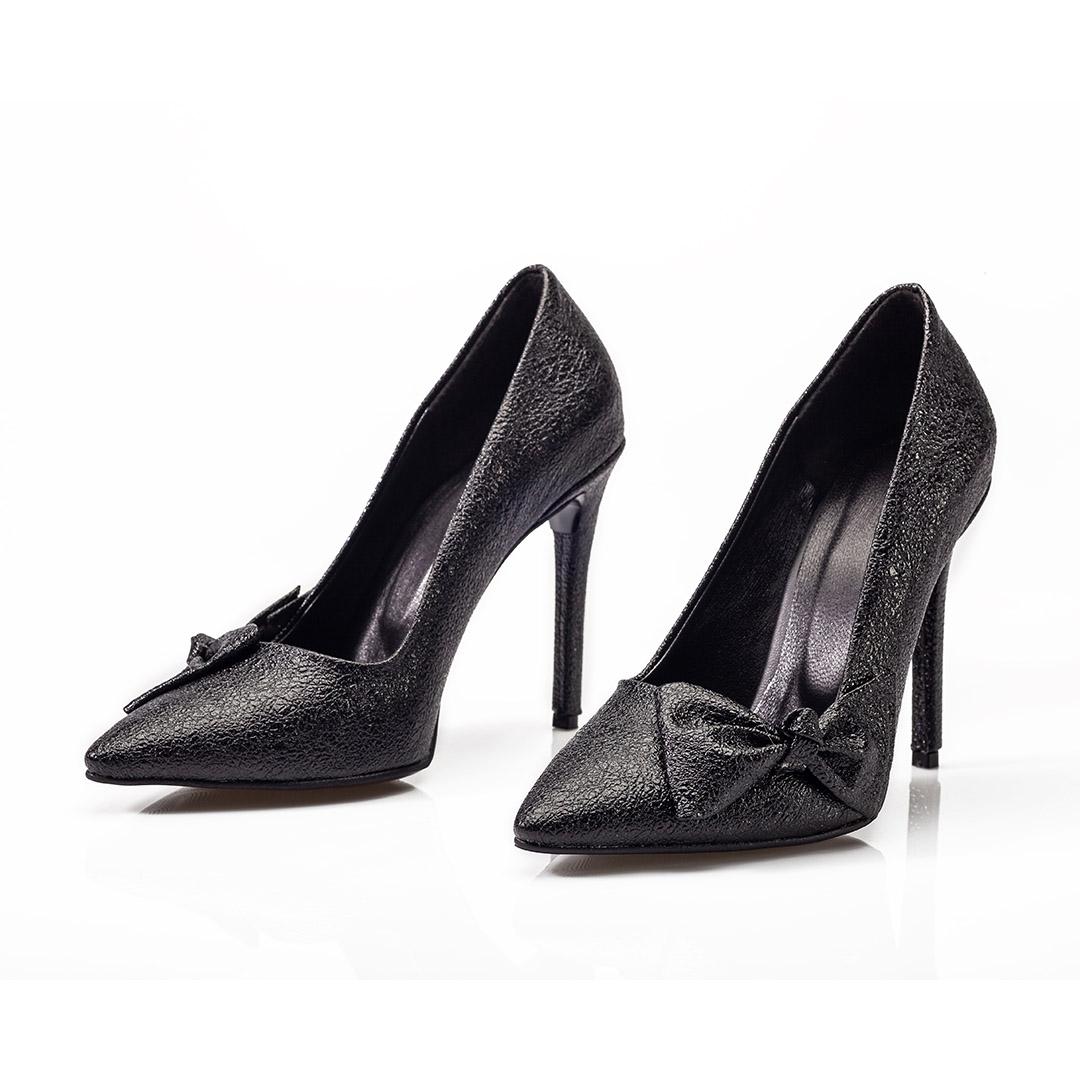کفش زنانه چرمی طرح لمه مشکی