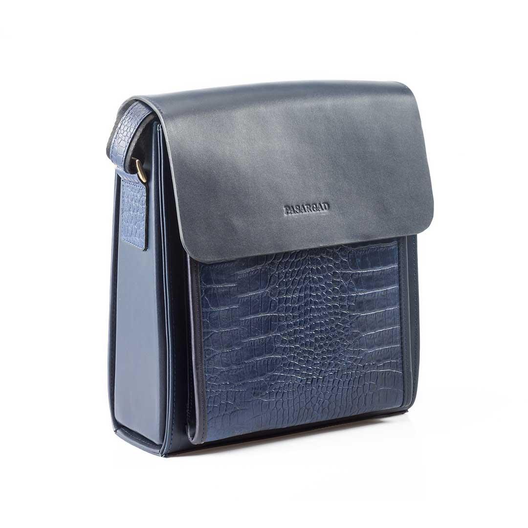 کیف چرم  دانشجویی سرمه ای