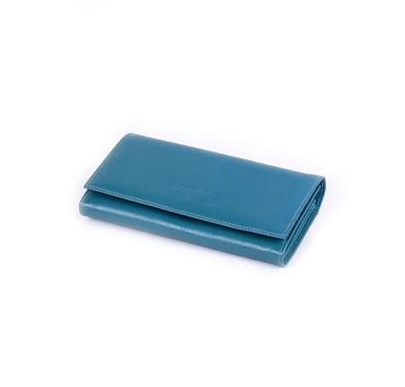 کیف پول زنانه چرم آبی