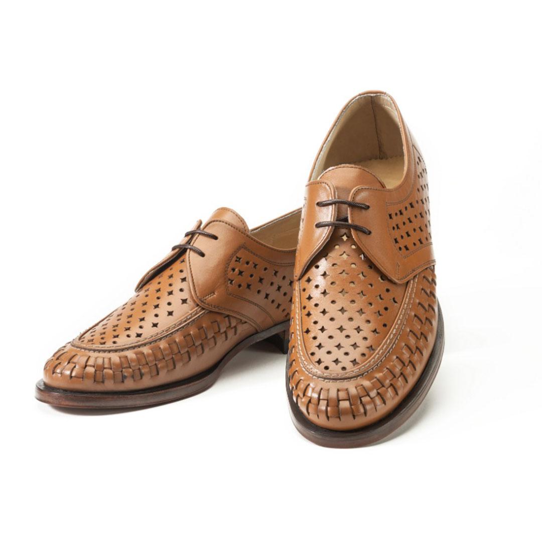 کفش تمام چرم دستدوز حصیری تابستانی